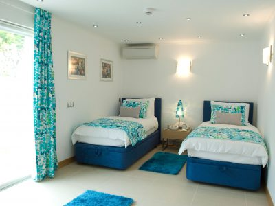 blue twin bedroom at Villa Monte Cristo Too, Lagos, Algarve, Portugal