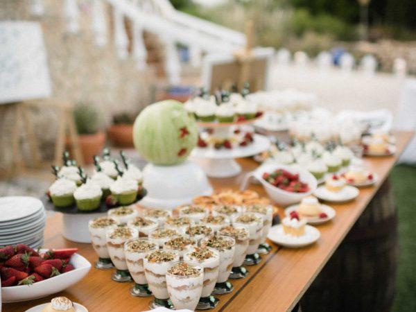 Efterrättbuffé för ett bröllopspaket på Villa Casa Monte Cristo Tres, Lagos, Algarve, Portugal