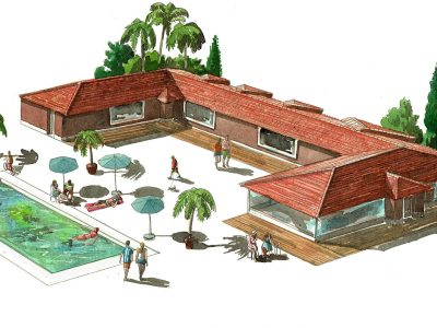 Desenho da Casa Casa Monte Cristo Seis em Lagos Algarve - Moradias de luxo com piscina em Portugal
